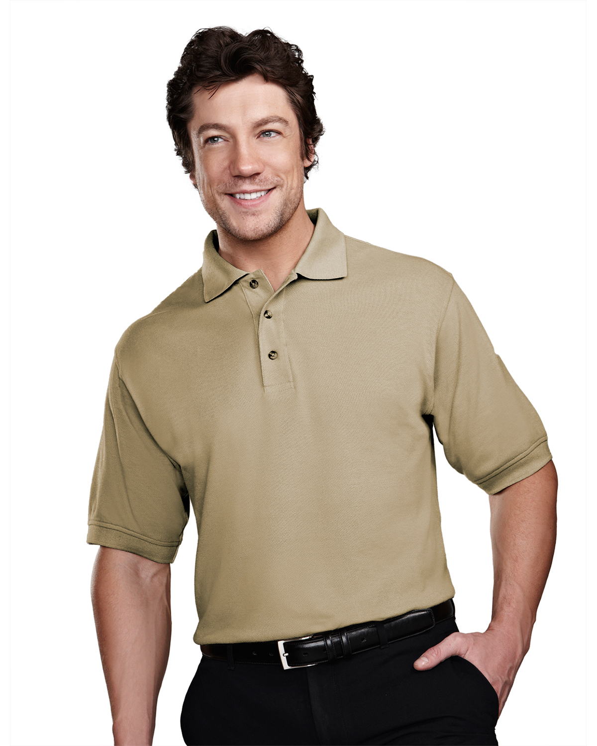 Tri mountain stain resistant pique polo golf shirt at big for Big and tall golf shirts