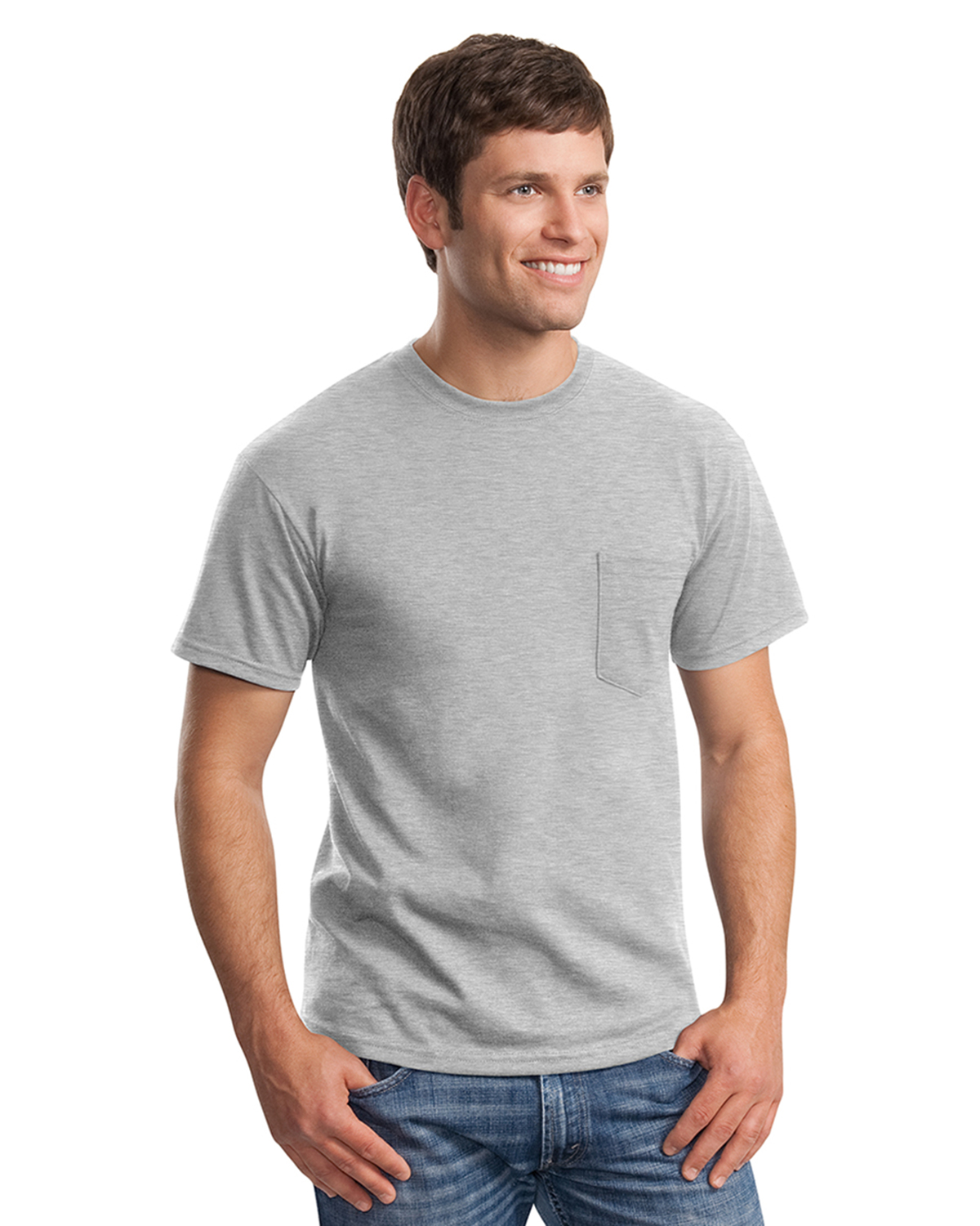 Mens ultra cotton 100 cotton t shirt with pocket at big for Mens 100 cotton t shirts