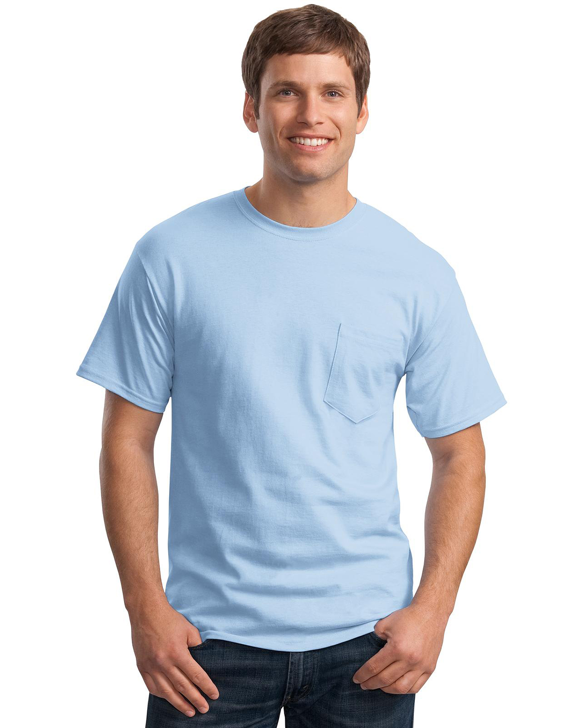Mens Tagless 100 Comfortsoft Cotton T Shirt With Pocket