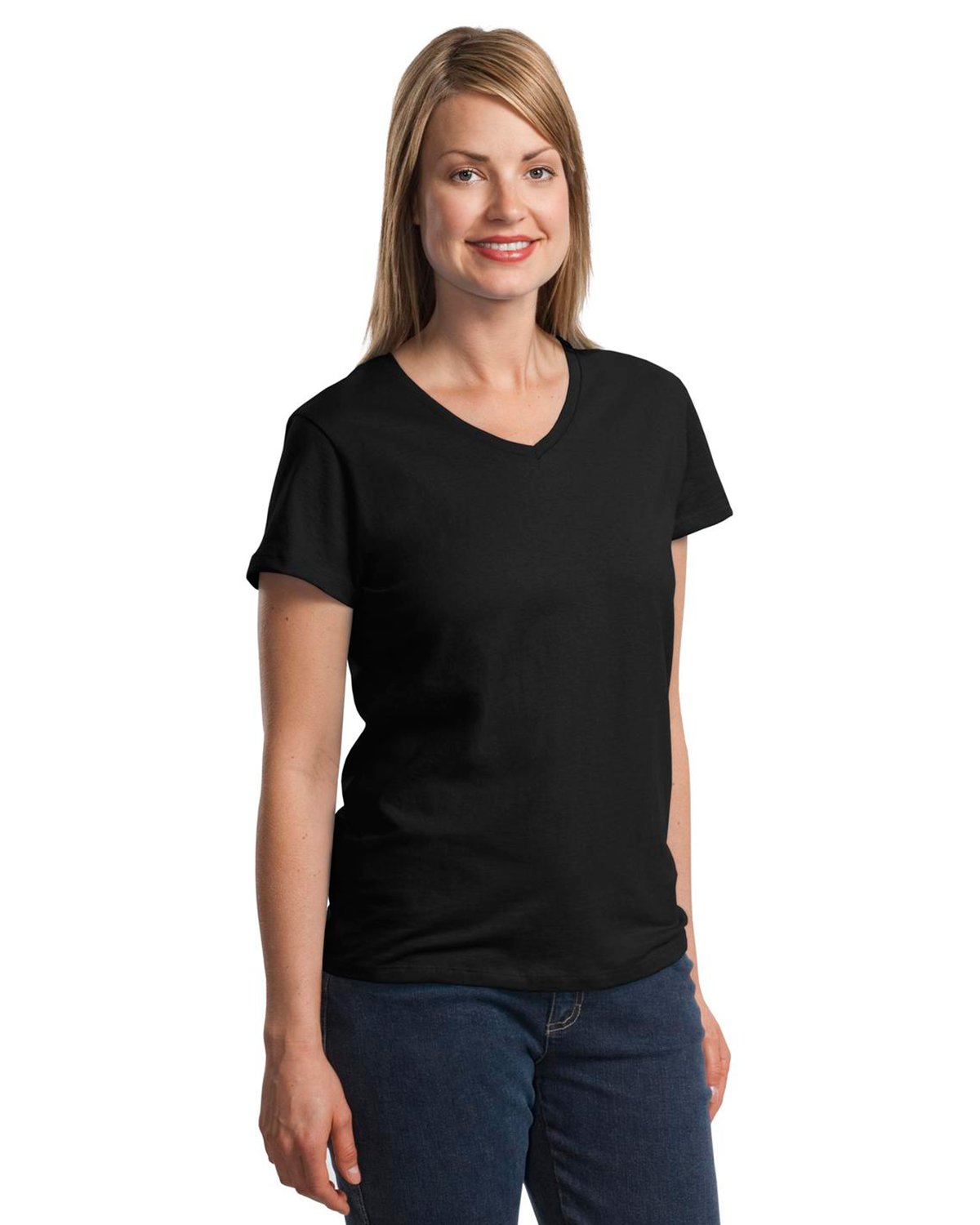 Hanes Ladies Comfortsoft V Neck T Shirt 5780