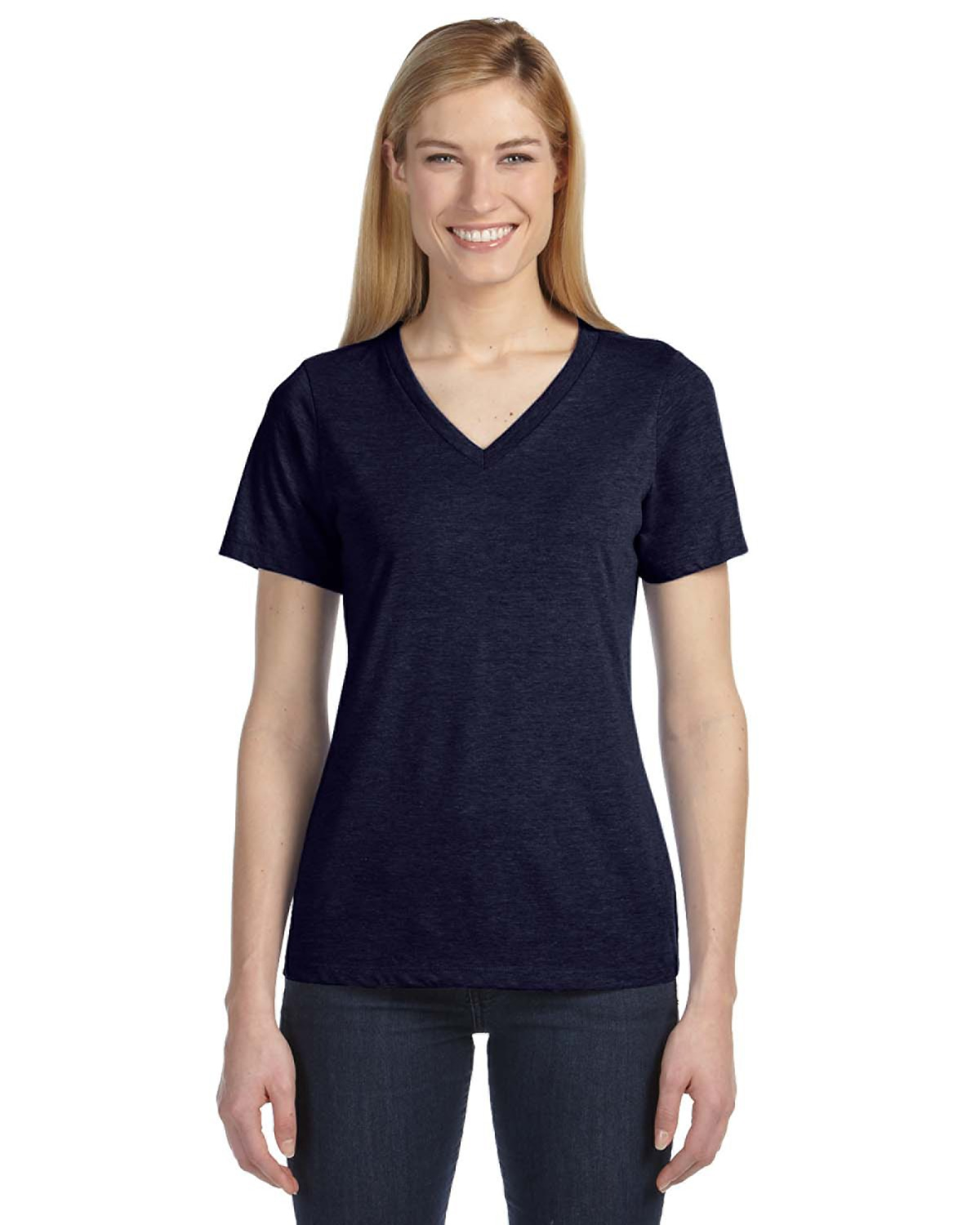 Missy Made In The Usa Jersey Short Sleeve V Neck T Shirt