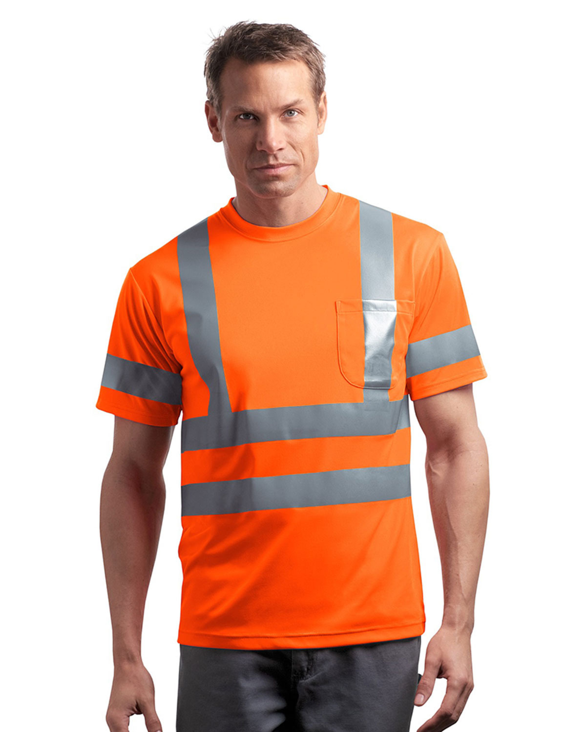 Mens ansi class 3 s sleeve snag resistant reflective t for Big n tall shirts