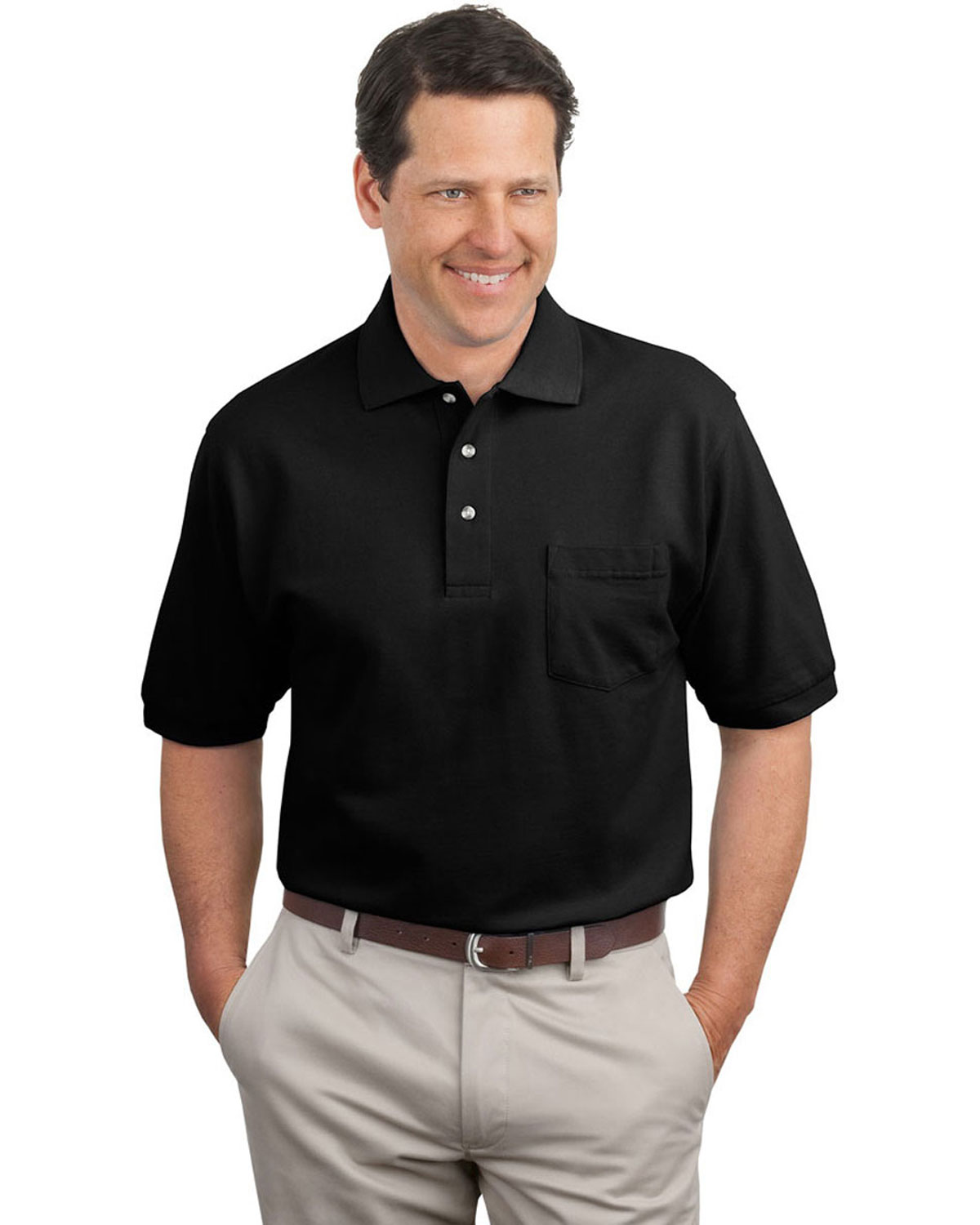 Port Authority Pique Knit Polo Sport Shirt With Pocket At