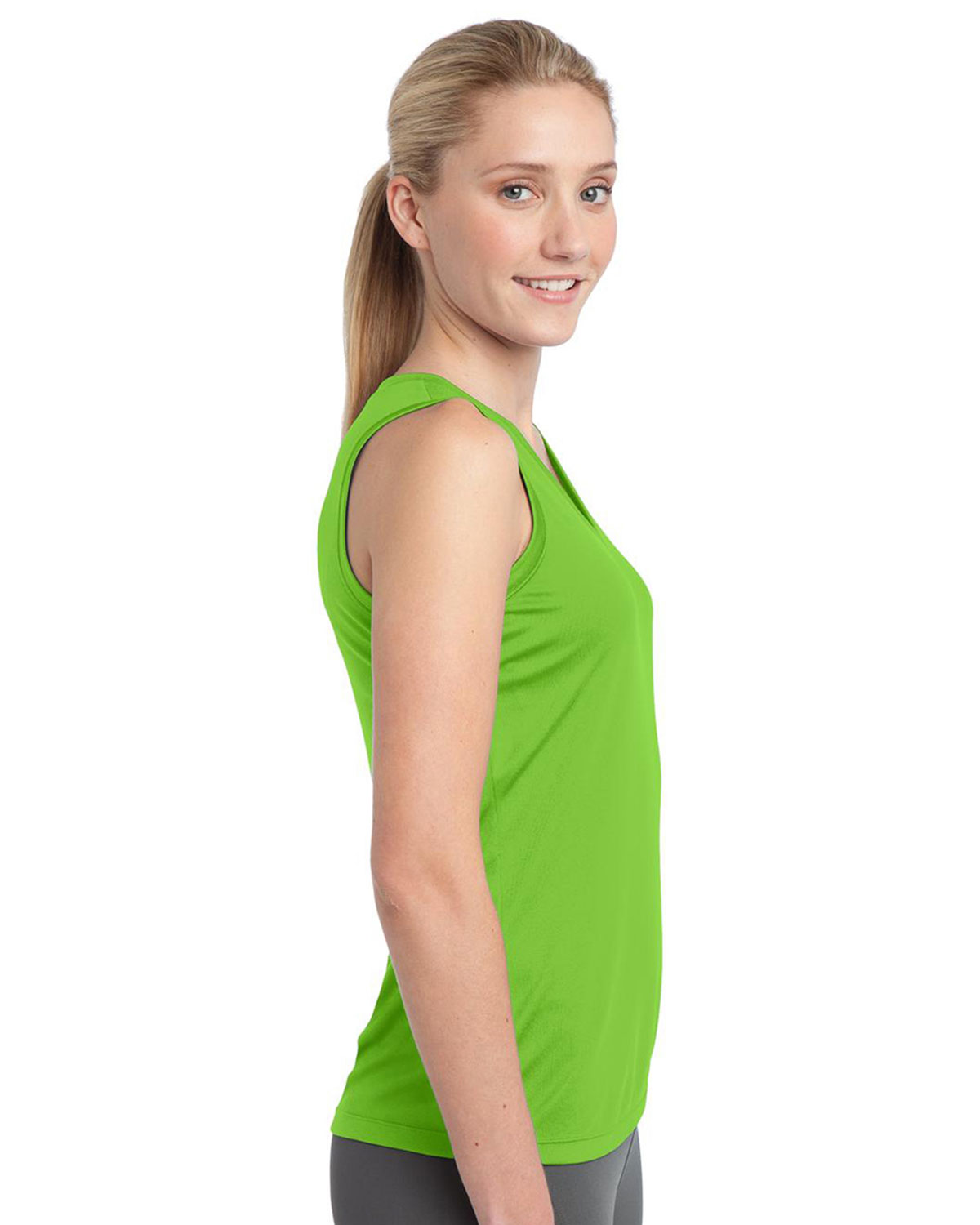 Sport tek ladies sleeveless competitor v neck tee lst352 for Womens tall v neck t shirts