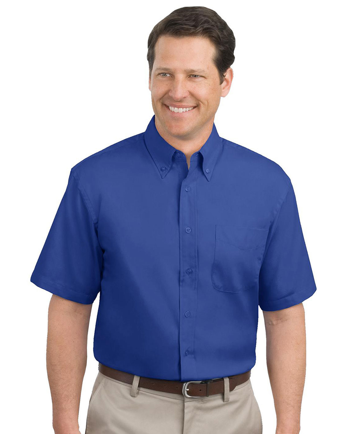 Port authority short sleeve easy care dress shirt at big for Big n tall shirts