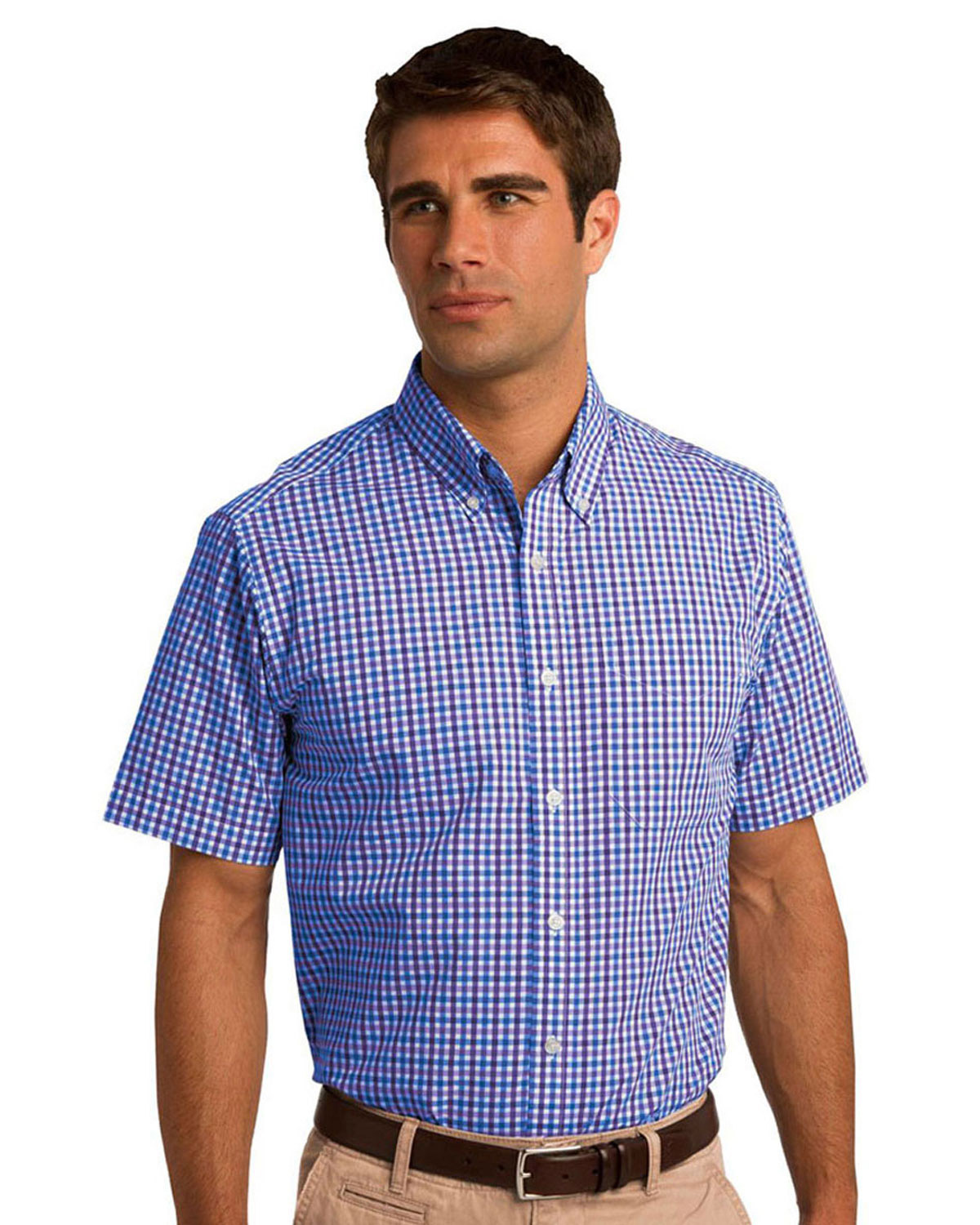 Port authority short sleeve gingham easy care shirt s655 for Big n tall shirts