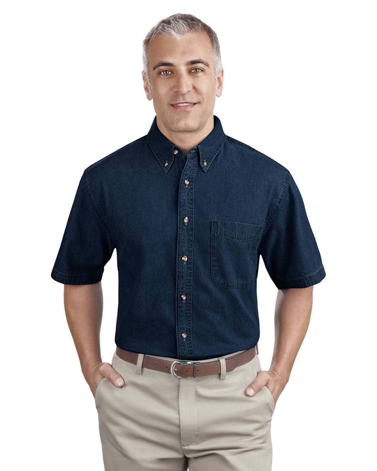 Mens Short Sleeve Value Denim Shirt At Big And Tall