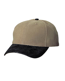 Mens 2 Tone Brushed Twill Cap with Suede Visor