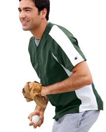 Pieced Mesh Button-Front Baseball Jersey