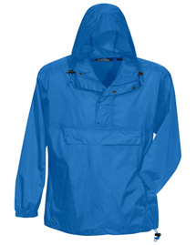 Mens Unlined Nylon 1/2 Zip Anorak Hooded Jacket