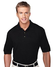 Mens Pique Polo Golf Shirt With Three Horn Buttons
