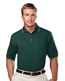 Big Mens Stain Resistant Pique Polo Golf Shirt With Trim