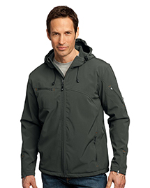 Mens Textured Hooded Soft Shell Jacket