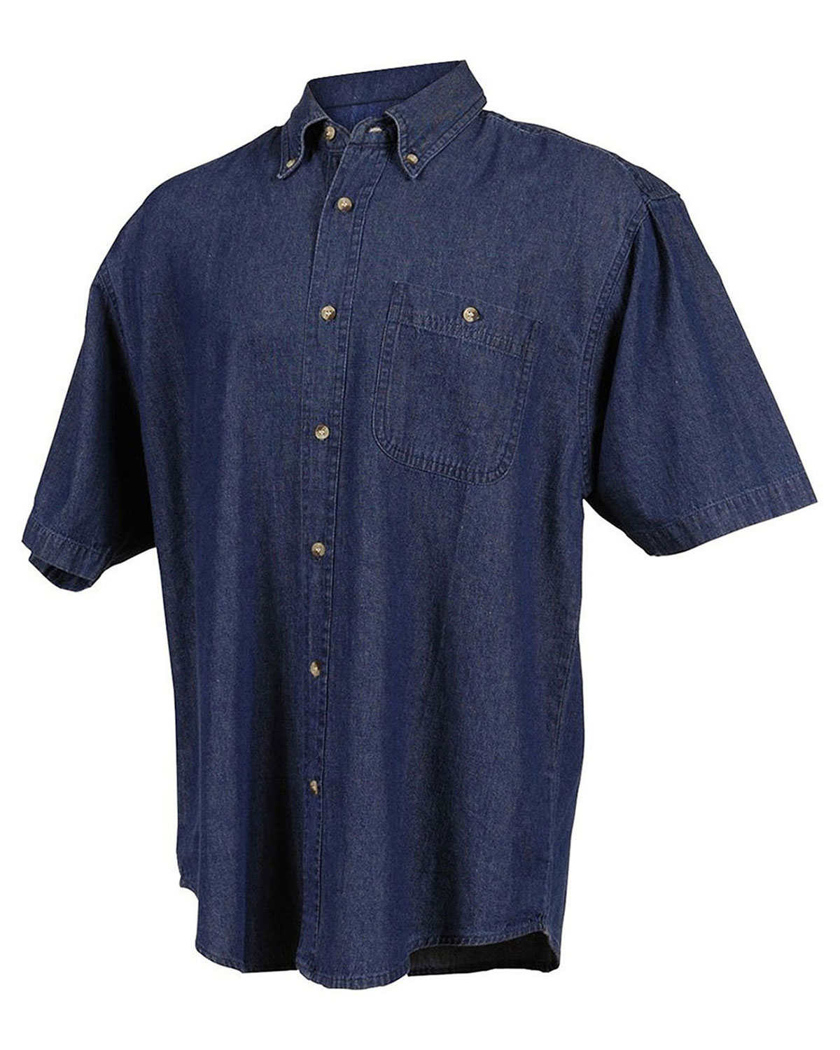 Tri-Mountain 828 Mens Denim Short Sleeve Shirt Dark Indigo at bigntallapparel