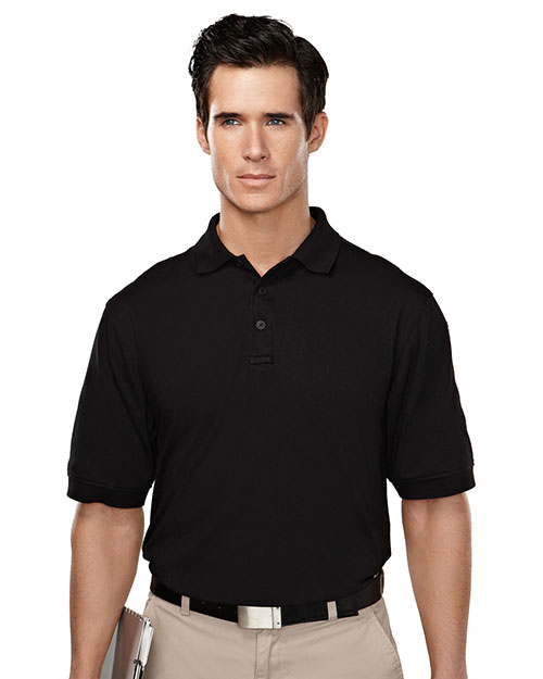 Tri-Mountain 014 Men Cotton/Poly 60/40 Knit Polo Shirt, W/ Mic Loops & Pen Pocket Black at bigntallapparel