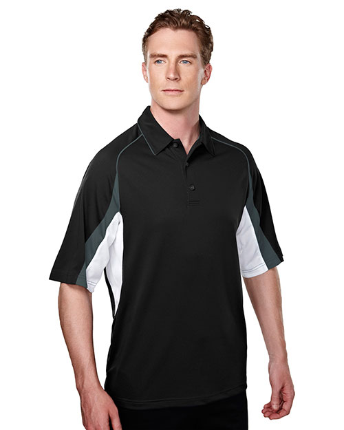 Tri-Mountain 018 Men 100% Polyester Knit Polo Shirts Black/Steel Gray/White at bigntallapparel