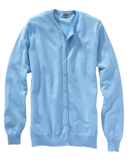 Edwards 040 WOMEN'S CORPORATE PERFORMANCE JEWEL NECK CARDIGAN SKY BLUE at bigntallapparel