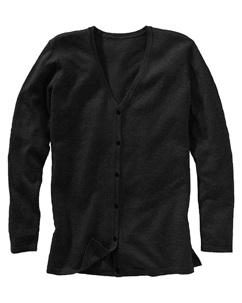 Edwards 046 Women Corporate Performance V-Neck Longer Cardigan Black at bigntallapparel