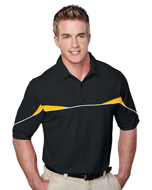 Tri-Mountain 050 Men Ss Knit Polo Shirt, W/ Self Collar, Piping And Contrast Inserts Black/Gold at bigntallapparel