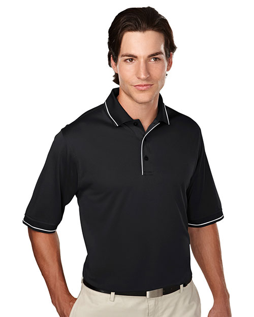 Tri-Mountain 058 Mens 100% Polyester Knit Polo Shirts. BLACK/STEELGRAY at bigntallapparel