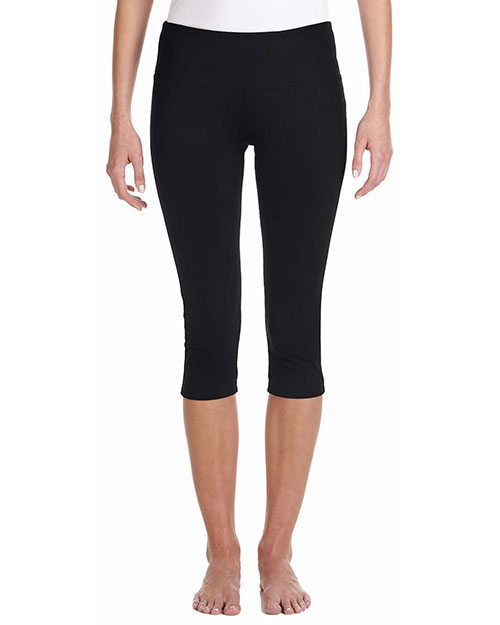 Bella 0811 Ladies' Cotton/Spandex Capri Fit Legging BLACK at bigntallapparel