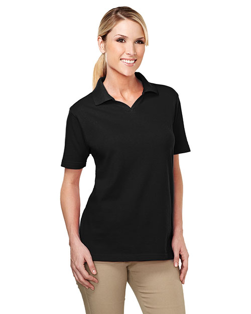 Tri-Mountain 091 Women 60/40 Johnny Collar Easy Care Golf Shirt Black at bigntallapparel