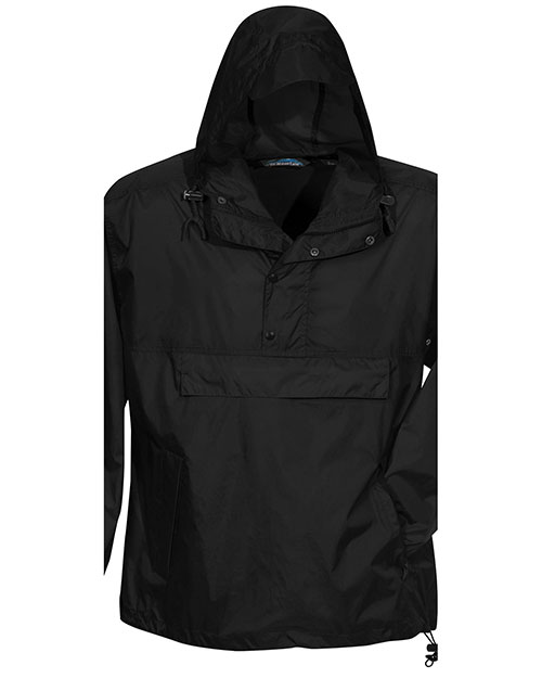 Tri-Mountain 1000 Mens Unlined Nylon 1/2 Zip Anorak Hooded Jacket Black at bigntallapparel