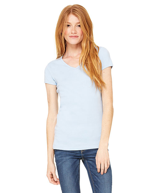 Bella 1005 Ladies' Baby Rib Short-Sleeve V-Neck T-Shirt BABY BLUE at bigntallapparel