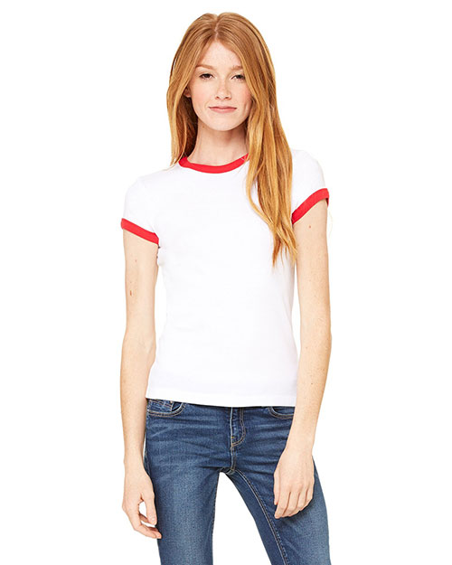 Bella 1007 Women Baby Rib Short-Sleeve Ringer T-Shirt White/Red at bigntallapparel