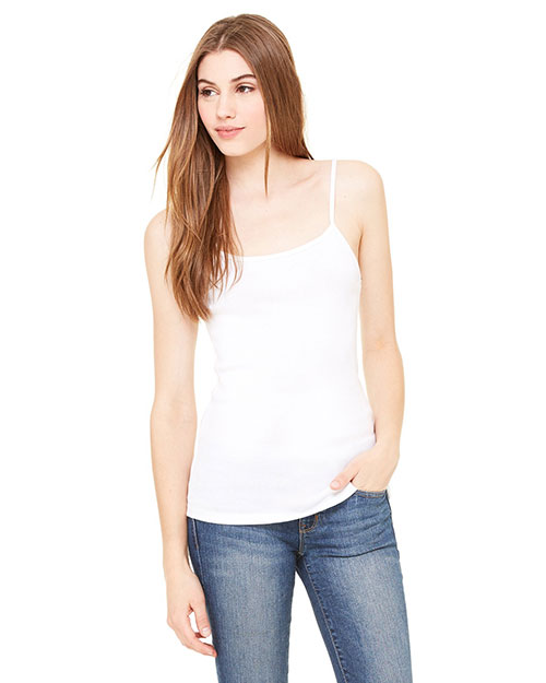 Bella 1011 Ladies' Baby Rib Spaghetti Strap Tank WHITE at bigntallapparel