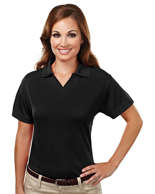 Tri-Mountain 104 Womens Poly UltraCool mesh johnny collar golf shirt. BLACK at bigntallapparel