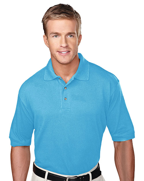 Tri-Mountain 105 Mens Pique Polo Golf Shirt with Three Horn Buttons Aquatic Blue at bigntallapparel