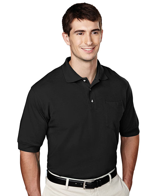 Tri-Mountain 106 Mens Pique Pocketed Polo Golf Shirt Black at bigntallapparel