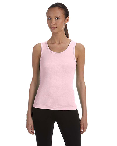 Bella 1080 Women Baby Rib Tank Soft Pink at bigntallapparel