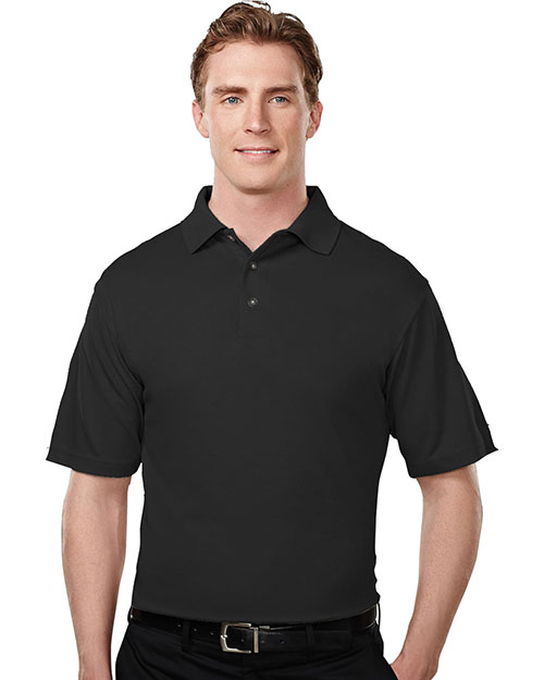 Tri-Mountain 108 Mens Micromesh Polo Golf Shirt Black at bigntallapparel