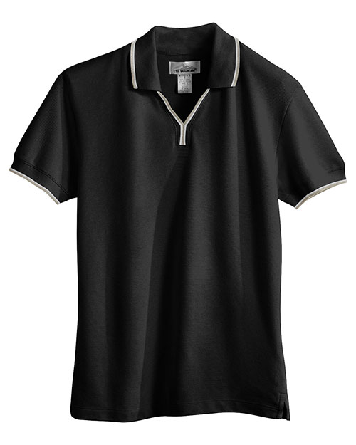 Tri-Mountain 112 Womens 60/40 UltraCool mesh johnny collar golf shirt. BLACK / KHAKI / WHITE at bigntallapparel