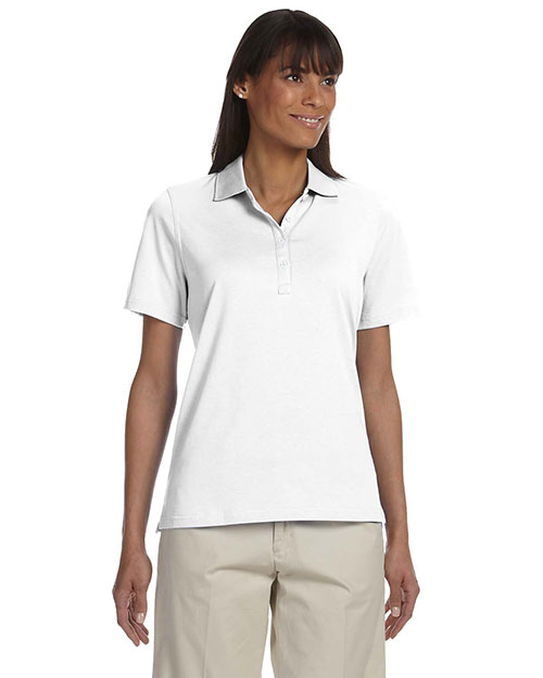 Ashworth 1147C Women High Twist Cotton Tech Polo White at bigntallapparel