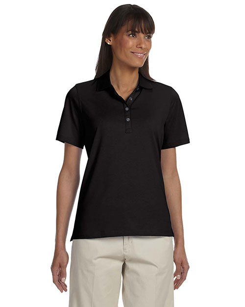 Ashworth 1147C Ladies' High Twist Cotton Tech Polo BLACK at bigntallapparel