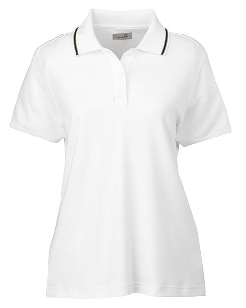 Ashworth 1149C Ladies' Performance Wicking Blend Polo WHITE/KHAKI/BLACK at bigntallapparel