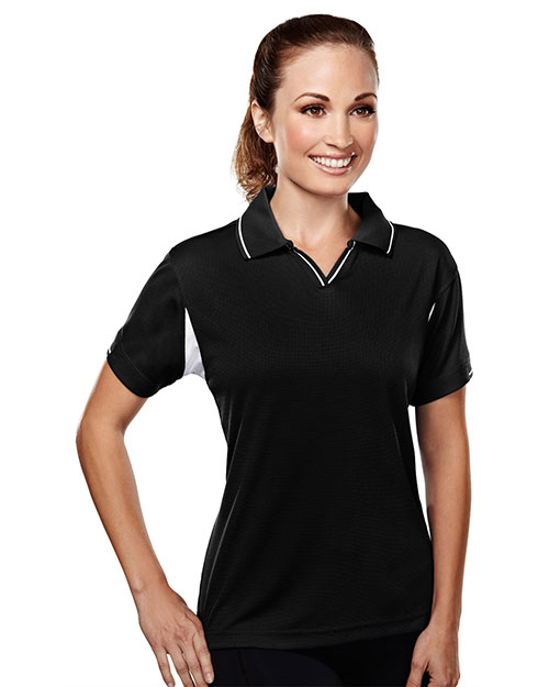 Tri-Mountain 114 Womens poly UltraCool waffle knit golf shirt. BLACK at bigntallapparel
