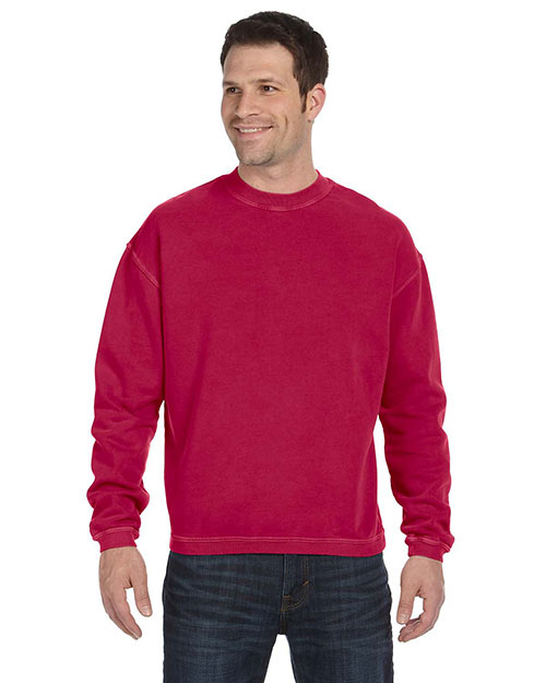 Authentic Pigment 11561 Men  11 Oz. Pigment-Dyed Ringspun Cotton Fleece Crew Poppy at bigntallapparel