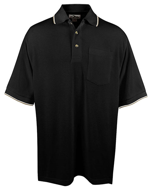 Tri-Mountain 117 Men Big And Tall Ultracool Mesh Pocketed Polo Golf Shirt Black/Khaki/White at bigntallapparel