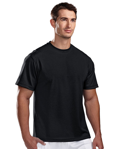 Tri-Mountain 122 Mens Ultracool Pique Crewneck T Shirt Black at bigntallapparel