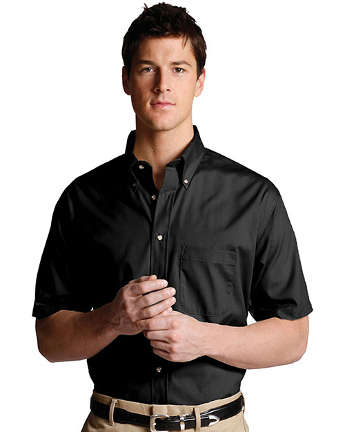 Edwards 1230 MEN'S EASY CARE SHORT SLEEVE POPLIN SHIRT BLACK at bigntallapparel