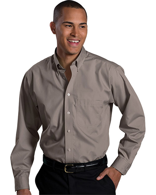 Edwards 1295 MEN'S LONG SLEEVE SOFT TOUCH POPLIN SHIRT MOCHA at bigntallapparel