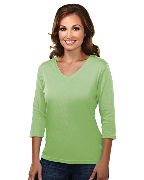 Tri-Mountain 131 Womens cotton interlock 3/4 sleeve v-neck knit. APPLE at bigntallapparel