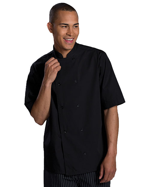 Edwards 1350 Unisex Double Breasted Server Shirt Short Sleeve Black at bigntallapparel