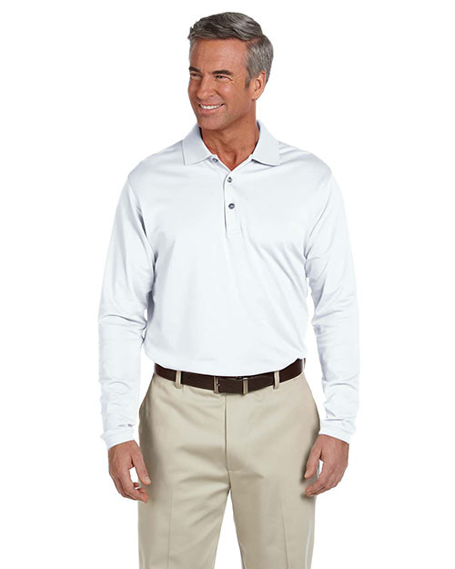 Ashworth 1352 Men's EZ-Tech Long-Sleeve Polo WHITE at bigntallapparel