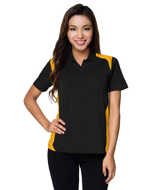 Tri-Mountain 143 Womens 100% Polyester UC Knit Polo Shirt. BLACK / GOLD at bigntallapparel