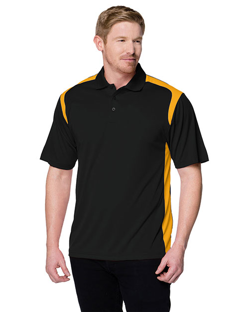 Tri-Mountain 145 Mens 100% Polyester Knit Polo Shirt. BLACK / GOLD at bigntallapparel